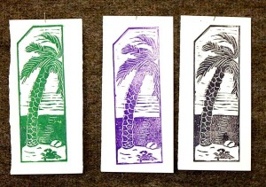 A few proofs of a 'linocut' bookmark I did at a workshop held at the Wits College of Education